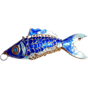 REDUCED Vintage BIG Chinese Enamel Articulated Fish Pendant
