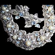 REDUCED Fabulous Fifties Blue Rhinestone Faux Pearl Silver Tone Festoon Necklace Earrings Set