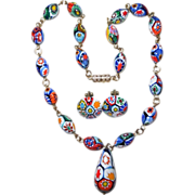 REDUCED Vintage Italian Millefiori Pendant Bead Necklace and Earrings Set