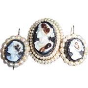 REDUCED Antique Victorian 14k Hard Stone Cameo Natural Seed Pearl Set