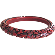 Antique Chinese Carved Cinnabar Lacquer Bangle Bracelet