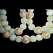 Vintage Jadeite Jade Bead & Venetian Glass Bead Necklace 14K Clasp