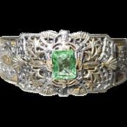 REDUCED Edwardian Era Rhodium Plate Green Paste Wide Bracelet