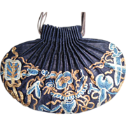 SOLD Antique Chinese Silk Embroidered Draw String Scent Purse