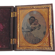 REDUCED Antique Victorian Mother & Baby Tintype in Gutta Percha Box Frame