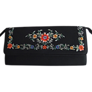 REDUCED Vintage 1950-60's Black Silk Embroidered Satin Stitch Dress/Evening Envelope Style Bag