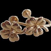 REDUCED Vintage 14K Solid Gold Four Leaf Clover Screw Back Earrings
