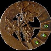 REDUCED Victorian Costume Brass Green Paste Grape Pin C Clasp