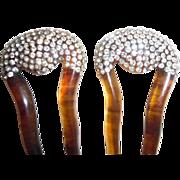 REDUCED Vintage Rhinestone Plastic Faux Tortoiseshell Matching Hair Combs