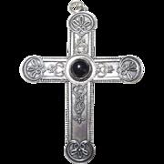 REDUCED Vintage Sterling Silver Black Onyx Filagree Big Cross Pendant