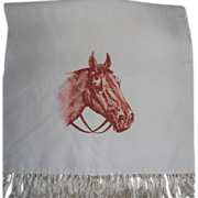 REDUCED 1940-50's Horse Print Rayon Muffler/ Scarf