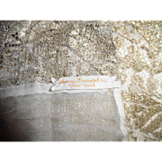 REDUCED 1920's Henri Bendel,Inc. NY Gold Metallic Lace Silk Shawl