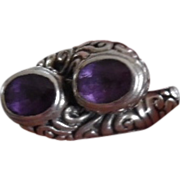 REDUCED Vintage Sterling Silver Twin Amethyst Stones Ring