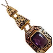 REDUCED Vintage 1940-50's Victorian Style Amethyst Paste Pendant Necklace