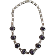 REDUCED Early Pre Eagle Mark Taxco 925 Cabochon Amethyst Stone Necklace
