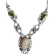 1930's Sterling Filagree Carved Cameo & Peridot Paste Necklace