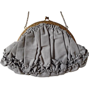 Beautiful  Edwardian Grosgrain Ruffled Evening Bag Purse