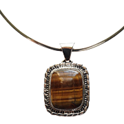 Vintage Taxco Sterling Silver and Tiger Eye Stone Pendant