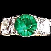 Vintage Sterling Silver Emerald Paste & CZ Diamond Ring