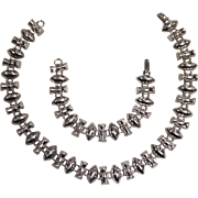 Vintage Art Deco Sterling Silver Necklace & Bracelet Set