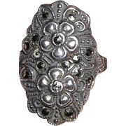 Antique Edwardian Sterling Marcasite Floral Ring