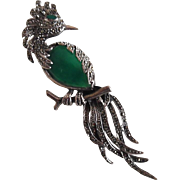 Magnificent Vintage Sterling Chrysoprase Marcasite Bird of Paradise Pin