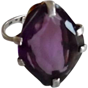 Vintage 1920-30's Sterling Art Deco Big Amethyst Paste Adjustable Ring