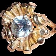 1940's Retro 14K Gold Aquamarine Ring