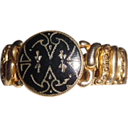 Vintage The American Queen Gold Plate Chased Enamel Bracelet