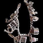 Vintage 1940's Sterling Silver Mechanical Charms Bracelet