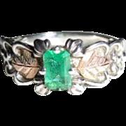 Vintage Sterling 12K Green Stone Black Hills Gold Ring