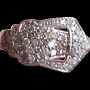 ArtDeco Period 14K Pave Diamonds Buckle Ring