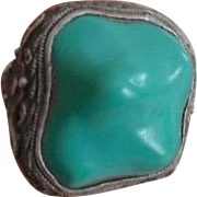 Vintage Chinese Export Silver & Polished Turquoise Nugget Ring