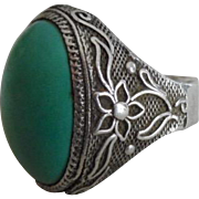 Vintage Chinese Export Silver & Persian Turquoise Ring