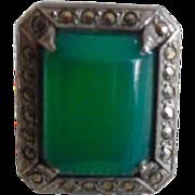 Vintage 20-30's Art Deco Sterling Chrysoprase Marcasite Ring