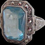 Vintage Art Deco Sterling Blue Topaz Paste Marcasite Ring