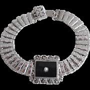 1920's Sterling Art Deco Onyx Marcasite Bracelet