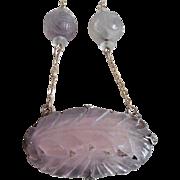Vintage Chinese Carved Pink Quartz Amethyst 14K Necklace