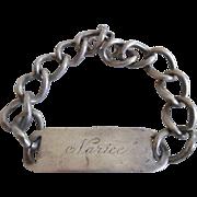 "Early Vintage Sterling Silver Sweetheart ID Bracelet ""Narice"""
