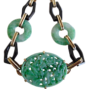 Chinese 1920's Art Deco 14K Carved Jadeite Jade Onyx Bracelet