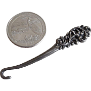 Darling Antique Victorian Sterling Silver Miniature Child/Doll Button Hook