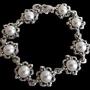 Vintage Sterling Silver White Faux Pearl Bracelet Wedding
