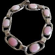 Vintage Sterling Silver Pink Mother of Pearl Bracelet