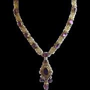 Antique Victorian Amethyst Paste Pendant Necklace