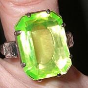 SALE 1920-30's Big 3 Interchangeable Paste Stones Art Deco Sterling Ring