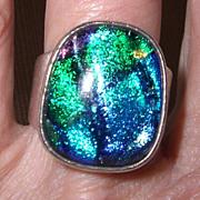 Vintage Sterling 925 Big Chunk of Art Glass Ring