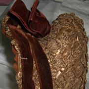 SOLD Antique Victorian 1840's Straw Bonnet with Maroon Velvet Trim H. Humphrey