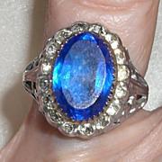 Antique Sterling Edwardian Ring Paste Stones