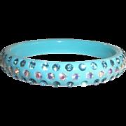 SALE Vintage Turquoise Blue Plastic Rhinestone Bangle Bracelet