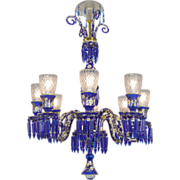 8 Light Chandelier Cobalt Blue Bohemian Glass with Crystal Spears (ANT-374)